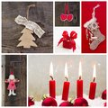 Rustic country decoration for christmas in red and wood with can four candles an angel Stock Image