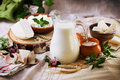 Rustic dairy products still life Royalty Free Stock Photo