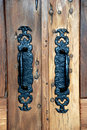 Rustic Door and Handle Levers Royalty Free Stock Images
