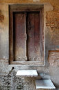 Rustic Door Peeling Plaster Wall Royalty Free Stock Photo