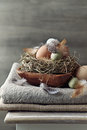 Rustic easter decoration with eggs and feathers Royalty Free Stock Image
