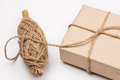 Rustic eco package brown paper and string isolated Royalty Free Stock Image