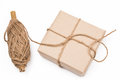 Rustic eco package brown paper and string isolated Royalty Free Stock Photo