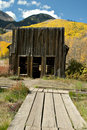 Rustic ghost town Post Office in Fall Stock Image