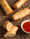 Rustic golden chinese spring rolls Royalty Free Stock Photo