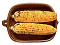 Rustic golden grilled corncob close up of a bowl of isolated Royalty Free Stock Photography
