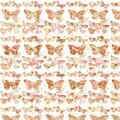 Rustic grungy botanical butterfly repeating background pattern Royalty Free Stock Photo