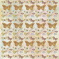 Rustic grungy botanical butterfly repeating background pattern