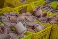 Rustic handmade ceramic clay brown terracotta cups souvenirs at street handicraft market in gafsa tunisia Stock Photo