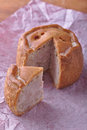 Rustic handmade pork pie cut slice paper wood board Royalty Free Stock Photos