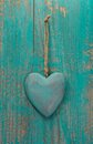 Rustic Heart On Turquoise Wood...