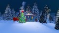 Rustic house decorated for Christmas at night Royalty Free Stock Photo