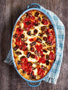 Rustic italian baked vegetable ragu close up of Royalty Free Stock Photography