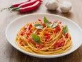 Rustic italian spaghetti arrabbiata pasta Royalty Free Stock Photo