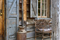 Rustic lodge front porch Royalty Free Stock Photo
