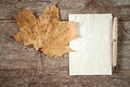 Rustic maple leaf and blank paper Royalty Free Stock Photo