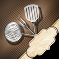 Rustic menu template brown corrugated cardboard with empty label and kitchen utensils for a Stock Images