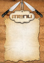 Rustic menu template wooden boards with empty parchment and kitchen utensils for a Stock Images