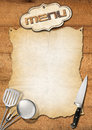 Rustic menu template wooden boards with empty parchment and kitchen utensils for a Stock Image