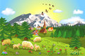 Rustic mountain landscape vector illustration of with sheep grazing on the field Stock Images