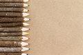 Rustic natural wood pencil crayon border Royalty Free Stock Photo