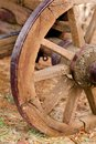 Rustic old weathered horse carriage wheel Royalty Free Stock Photos