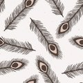 Rustic Peacock Feather Lino Cut Texture Seamless Vector Pattern, Sketchy