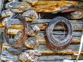 Rustic Pioneer Log Cabin with Rusty Barbed Wire Rolls Royalty Free Stock Photo