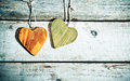 Rustic romantic hearts Stock Image