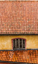 Rustic roof tiles provence france old on building in Stock Photo