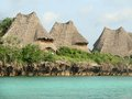 Rustic roofs in zanzibar houses and wonderful turquoise colored sea Royalty Free Stock Images