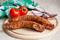 Rustic sausages Royalty Free Stock Photography