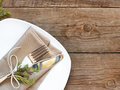 Rustic Table setting on old wooden table Royalty Free Stock Photo