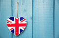 Rustic Union Jack heart decoration Stock Photo