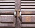 Rustic vintage handle on old wooden door