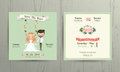 Rustic wedding cartoon bride and groom couple invitation card Royalty Free Stock Photo
