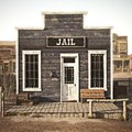 Rustic western town jail. Royalty Free Stock Photo