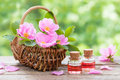 Rustic wicker basket with pink rose hip flowers and bottles Royalty Free Stock Photo