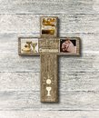 Rustic Wood Cross First Holy Communion Symbol Photos Illustration Royalty Free Stock Photo