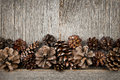 Rustic wood with pine cones natural wooden background Stock Photo
