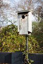 Rustic wooden birdhouse at a local park Stock Photos
