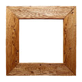 Rustic wooden frame isolated on white Royalty Free Stock Photo