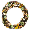Rustic wreath the decorations on a natural grapevine are the colors of cream tan rust gray green and lavender and feature dried Stock Photos