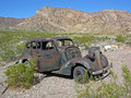 Rusting car in the desert environment near nelson nevada image shows an abandoned ghost town of was originally called Royalty Free Stock Photo