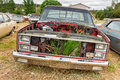 Rusting car in junk yard old a desert Royalty Free Stock Images