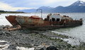 Rusting ship puerto williams isla navarino chile on the shore of the beagle channel in a few tourists come here to the world s Royalty Free Stock Photography