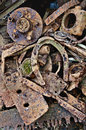 Rusty antique horseshoe with metal parts other Royalty Free Stock Photo