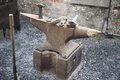 Rusty anvil in workshop old blacksmiths Royalty Free Stock Photo