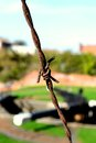 Rusty barbed wire with canal lock in the background Stock Image
