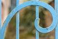 Rusty Blue Painted Metal Spiral Closeup. Fibonacci Golden Ratio Royalty Free Stock Photo